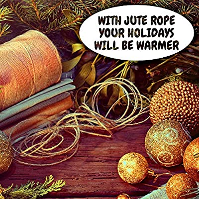 Jute Rope – Natural Jute Twine String Thin Rope for Gift Box Packing, Decorating, Gardening : Office Products