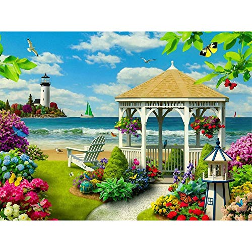 Macrorun Seaside Garden 5D DIY Diamond Painting Cross Stitch Full Drill Round Diamond Dotz Embroidery Rhinestones Mosaic Art Craft Kits Home Wall Picture Decoration 16
