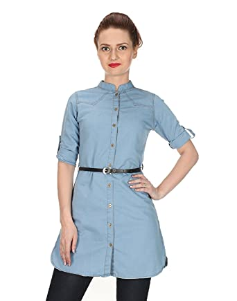 647a4e1fb52 C.Cozami Women s Solid Casual Denim Dark Blue Light Blue Long Shirt (Light