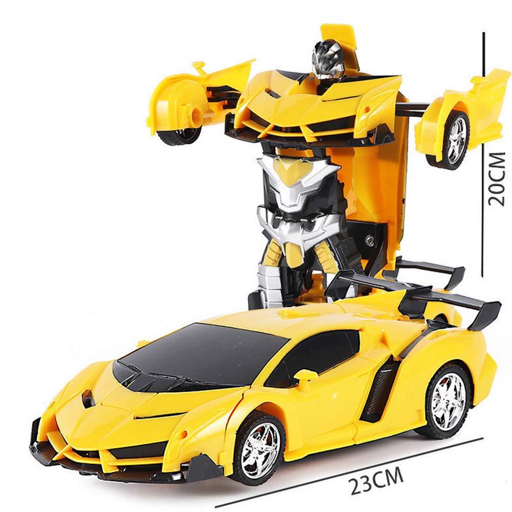 YYHULI Voiture de Jouet Robot déformée, Robot télécommandé à l\'échelle 1/18 Transformer Une Voiture légère à déformation légère pour Cadeau d\'enfants