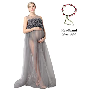 Mg House Maternity Maxi Lace Dress Sheer Chiffon Gown Photography