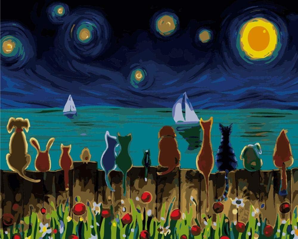 ART-HDeck Pintar por numeros Adultos Resumen Cielo Estrellado de Van Gogh Pintura al óleo de Bricolaje Principiantes y niños con Pinceles y Pinturas Decoraciones para el Hogar 40x50 cm(Sin Marco)