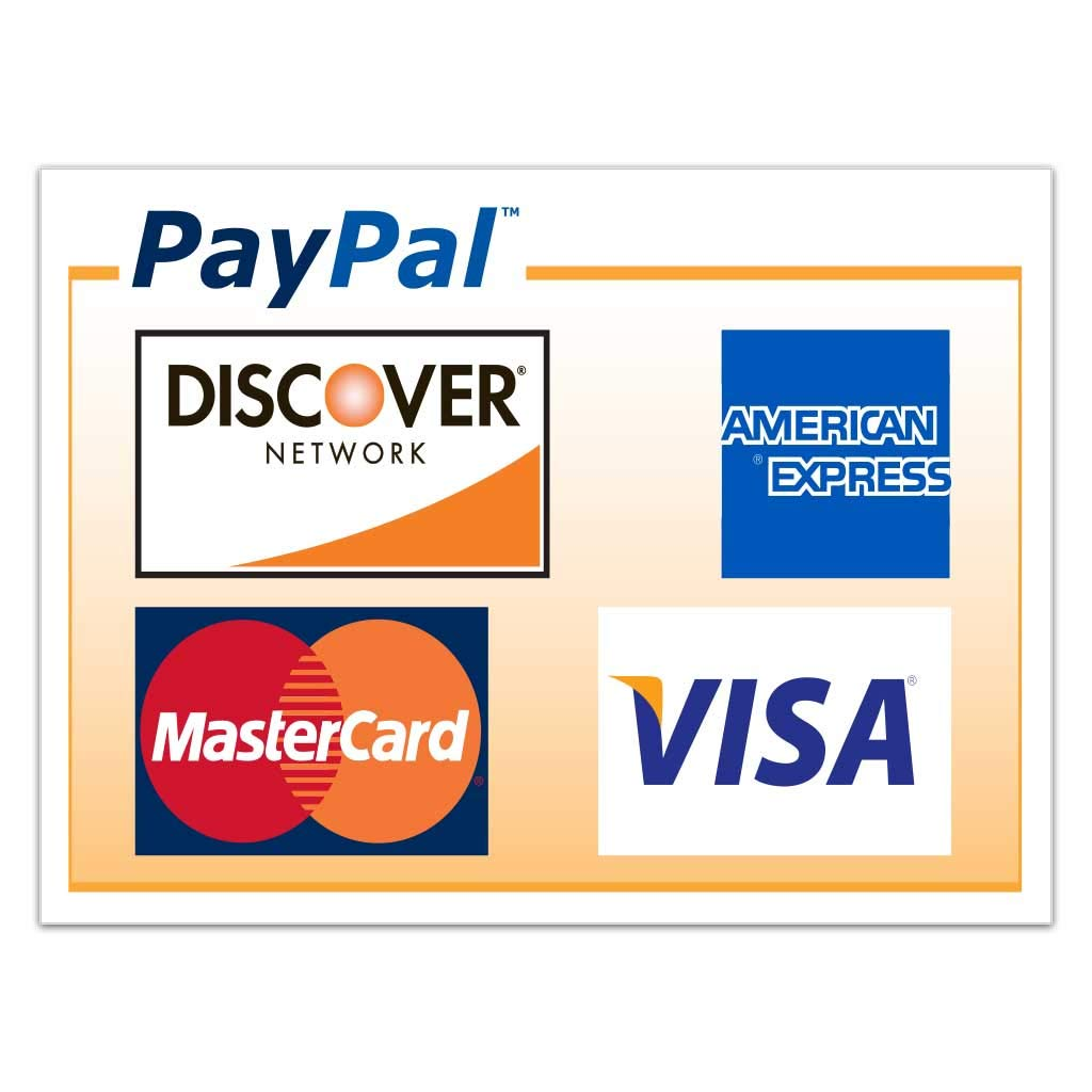 Amazon com victorystore stickers paypal credit card sign vinyl stickers set of 2 size 4 x 6 yard signs office products