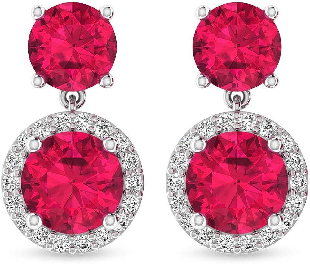 Pendientes de gota con certificado IGI de rubí rojo, claridad de color IJ-SI, pendientes de piedra natal con halo de diamantes, pendientes de boda nupcial, tornillo hacia atrás