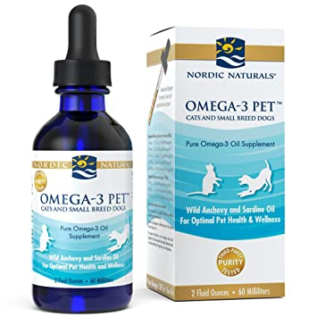 Nordic Naturals Omega 3 Pet - Fish Oil Liquid for Cats and Dogs, Omega-3s,  EPA and DHA Supports Skin, Coat, Joint and Overall Health, in Triglyceride