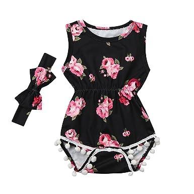 9db9bdfb2f34e Summer Baby Girls Newborn Infant Toddler Romper Cuekondy 2Pcs Floral Tassel  Sleeveless Jumpsuit +Headband Set