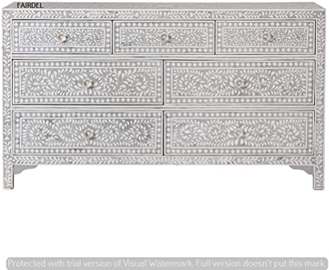 Handmade Bone Inlay 7 Chest Of Drawers Beautifully Crafted Home Decor Inlay Furniture