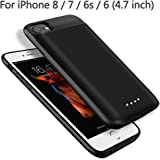 BeeFix Akku Hülle für iPhone 8/7/6S/6, 5000mAh Tragbare Battery Pack Externe Wiederaufladbare Leistungsstarke Power Bank, Schwarz [4,7 Zoll]