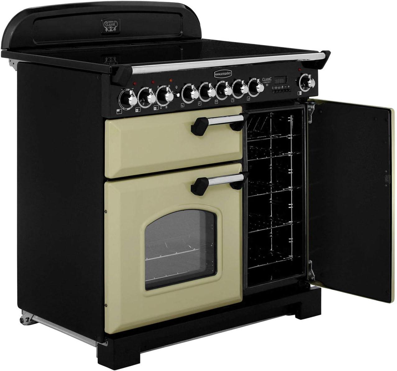 Rangemaster Classic Deluxe Range Cooker Freestanding CDL90EICR//C Cream // Chrome