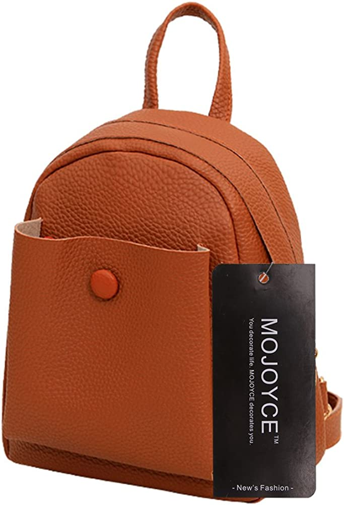 ForU-1 Backpack for Women Girls PU Leather Pattern Backpack Preppy Chic School Bag Chocolate