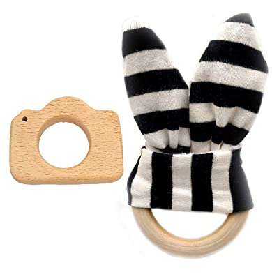 Alenybeby Bunny Ear Wood Ring Teether Bell Natural Wood Teether Circle Fabric Baby Teething Training Newborn Teether (Black-White): Toys & Games