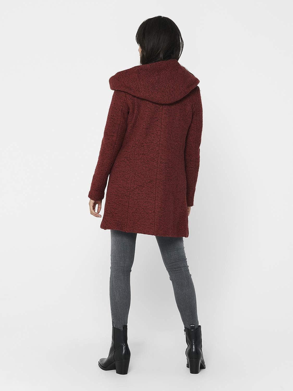 Gr/ö/ße:XS ONLY Damen Woll-Mantel OnlNewSedona Coat Herbst-Winter Jacke mit Kapuze Farbe:Braun