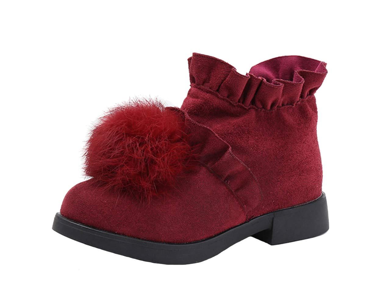 WUIWUIYU Girls' Sweet Zipper Short Ankle Boots Casual Walking Princess Shoes Dark Red Size 9.5 M