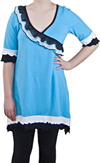 product image for Cheeky Banana Women's Faux Wrap Cotton Tunic Top Turquoise Black &White