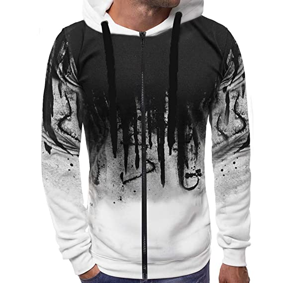 Amazon.com : Black Sweatshirt Man Festiday 2018 Casual Mens Exercise & Fitness Sweatshirts Men Zipper Gradient Color Pullover Long Sleeve Hooded Sweatshirt ...