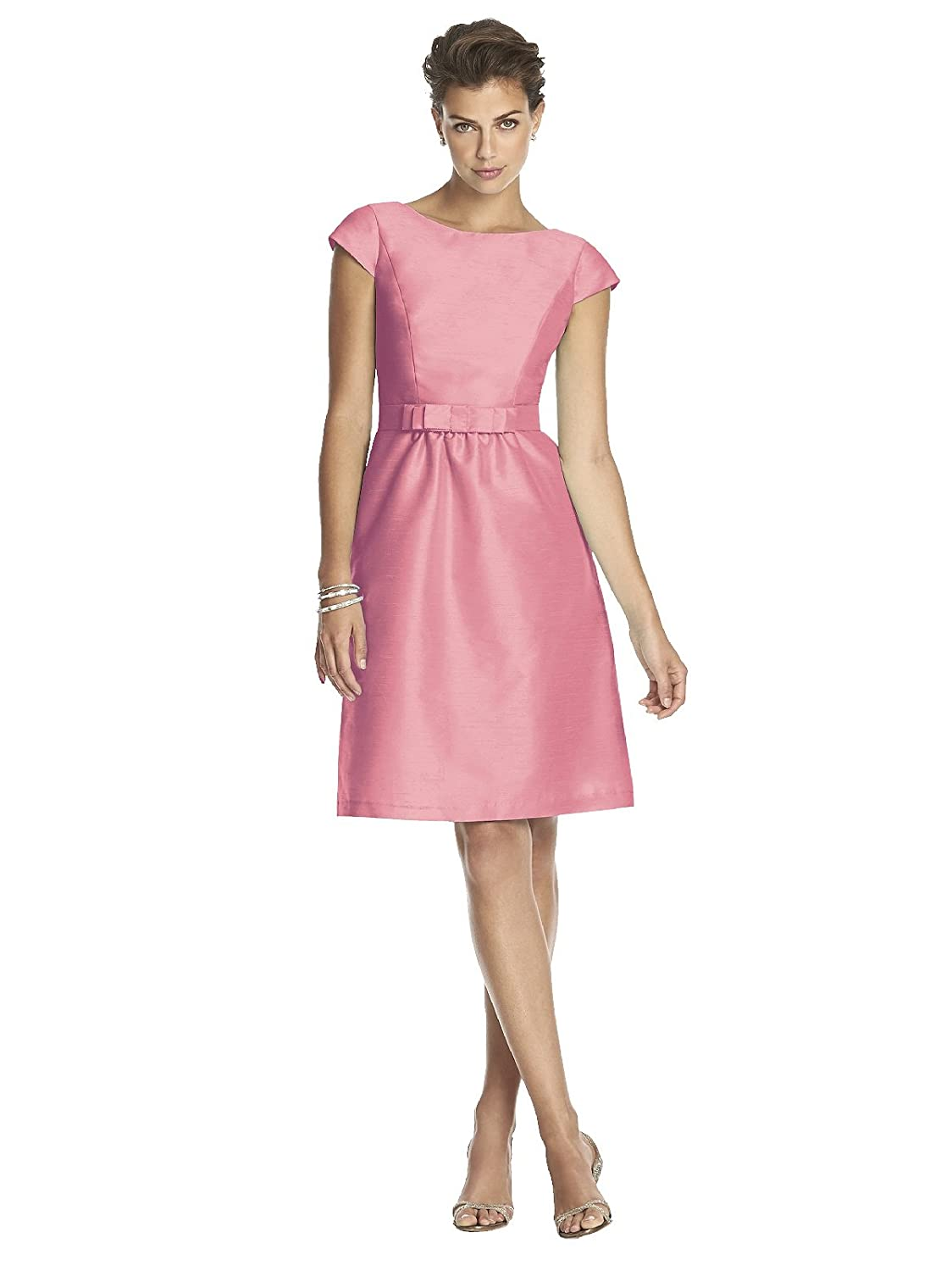 Alfred Sung Women\'s Cocktail Length Dupioni Bateau Neck Dress with ...