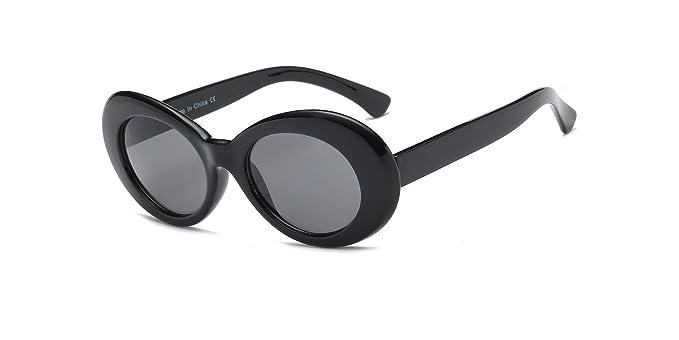 Round Oval Women Sunglass White Plastic Frame Black Lens Vintage Fashion
