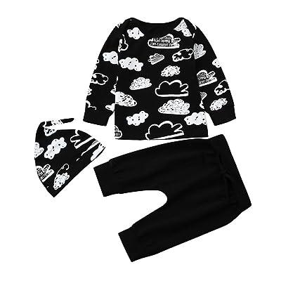 3Pcs Set Infant Baby Boy Girl Cloud Print T Shirt Tops + Pants Outfits Clothes Set With Hat