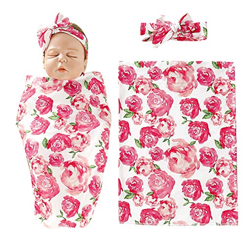 Newborn Baby Receiving Blanket with Headband Set Floral Print Baby Swaddle Wrap 2PCS Infant Sleeping Bag Newborn Baby Gown Shower Gift Pink Flower (Print Headband Floral)