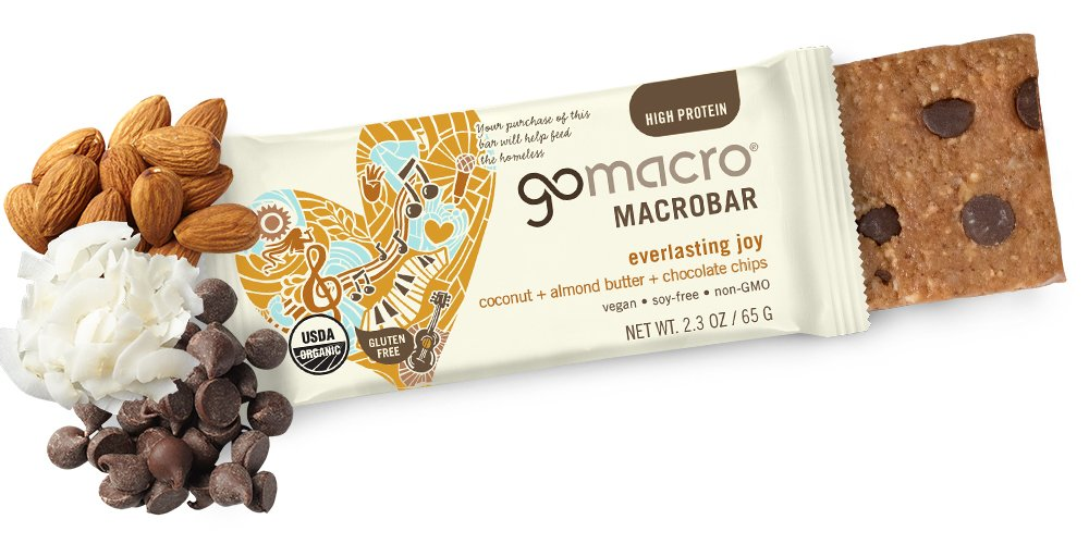 GoMacro MacroBar, Organic Vegan Protein Bar, Coconut + Almond Butter + Chocolate Chip, 2.3 oz (Pack of 12)