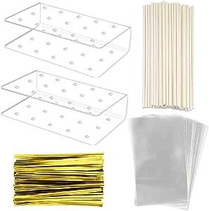 Yookat 2 Pack Acrylic Lollipop Holder Acrylic Cake Pop Stand 50PCS Clear Treats Bags 50PCS Lollipop Sticks and 50PCS Gold Metallic Twist Ties for Candy Cake Pop Sticks Making Tools
