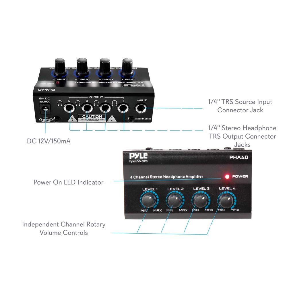 4 Channel Portable Stereo Headphone Amplifier Circuits Monitor Amp Professional Multi Mini Earphone Splitter W Balanced Trs Headphones Output