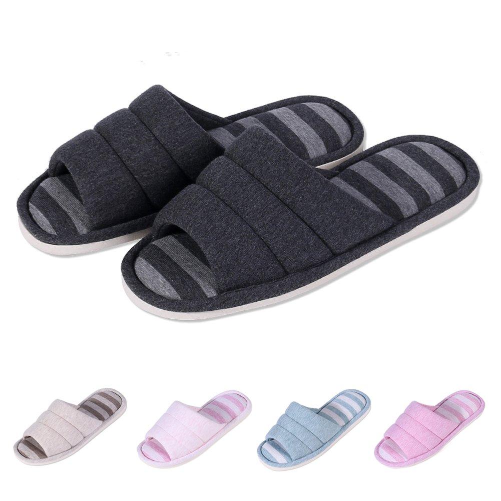 shevalues Women's Soft Indoor Slippers Open Toe Cotton Memory Foam Slip on Home Shoes House Slippers BK-XXL Dark Grey