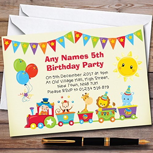 Circus Animal Train Childrens Birthday Party Invitations by The Card Zoo