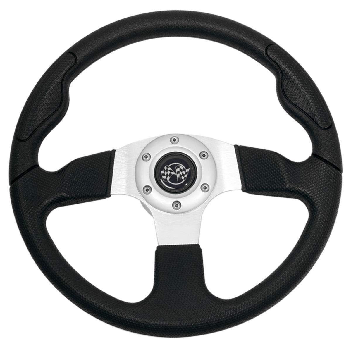 Buggies Unlimited Golf Cart Rally, Sport Steering Wheel (Black) 13.5''
