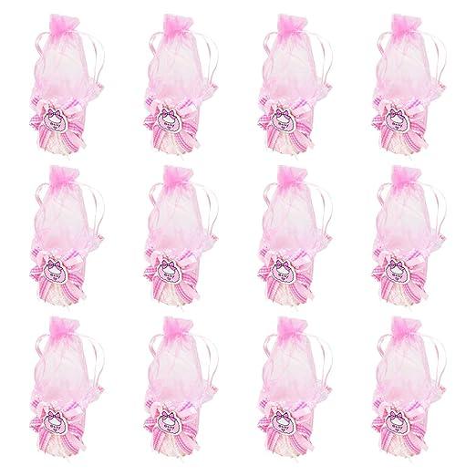 12 Bolsa Regalo Bautizo niña,Color Rosa,Organza-Bebero ...
