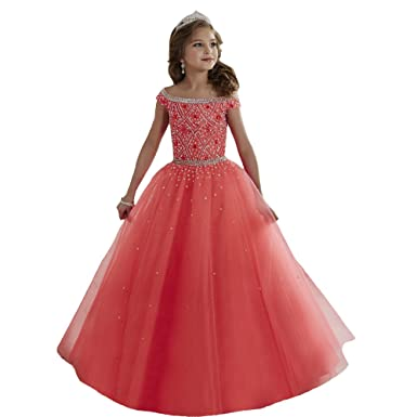 6ff67b5c4a Amazon.com  luolandi New Little Girls Pageant Dresses Off Shoulder Crystal Beads  Coral Tulle Formal Party Dress  Clothing