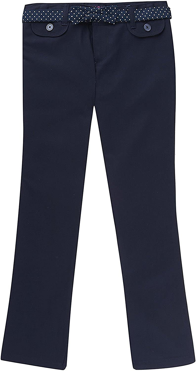 French Toast School Uniform Girls Twill Straight Leg Belted Pants