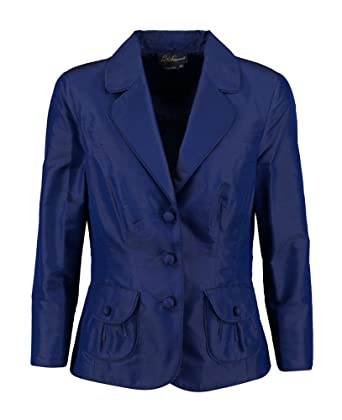 f12d4b266b LUISA SPAGNOLI Dark Blue Silk Crepe Jacket (UK16 Ital48 (Small Fit), Blue):  Amazon.co.uk: Clothing