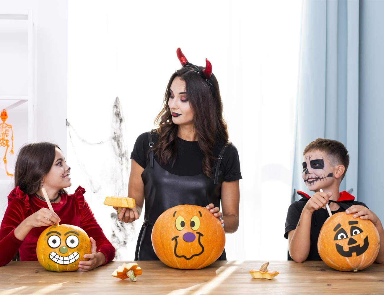 KIDPAR 82Pcs Halloween Pumpkin Stickers Make Your Own Jack-O-Lantern Face Decals for Halloween Party Decoration 33 Funny and Classic Pumpkin Expressions Stickers for Pumpkins and Squashes