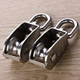 2Pcs 25MM Single Pulley Block, 304 Stainless Steel