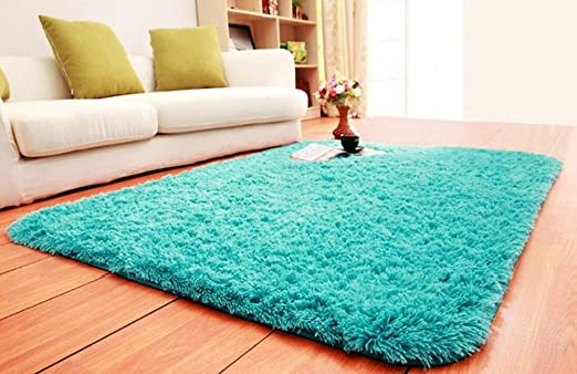 ACTCUT Super Soft Indoor Modern Shag Area Silky Smooth Rugs Fluffy Rugs Anti-Skid Shaggy Area Rug Dining Room Home Bedroom Carpet Floor Mat 2.6 Feet Blue Feet By 5.3