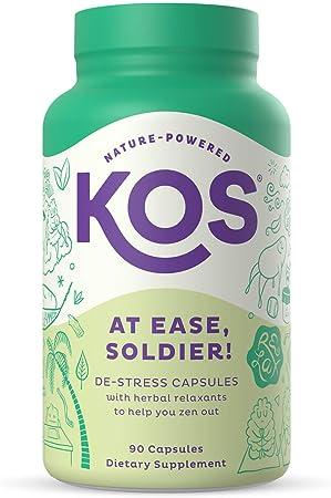 KOS Stress Relief Supplement - Relaxing Adaptogen Blend with Ashwagandha, Lions Mane, Reishi, Ginseng, Lemon Balm, Passion Flower - 90 Capsules