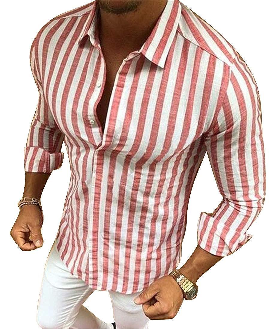 XTX Men Contrast Lapel Casual Long Sleeve Stripe Button Down Dress Shirts