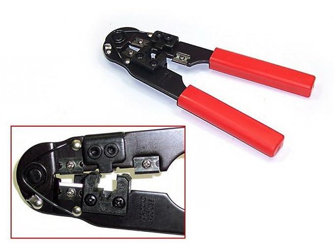 Alicates para crimpar conectores (RJ45) de metal negro/rojo: Amazon.es: Electrónica