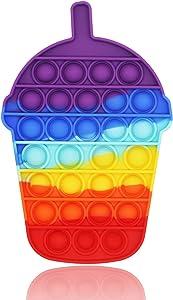 munash Push Pop Bubble Fidget Sensory Toy for Kids Food Grade Silicone Relieving Stress Toys for Adults Just Bubble Game Sensory Toy for Anxiety Rainbow Cute Milk Tea
