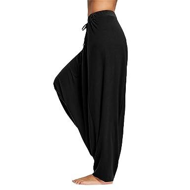 b143871eacb Naomiky Women Men Trouser Drop Bottom Harem Pants with Drawstring Casual  Loose Plus Size Full Length