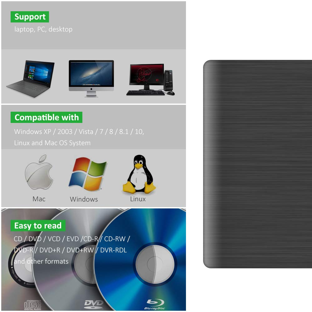 Amazon.com: Sonkir - Unidad de CD y DVD externa USB 3.0 (+ ...