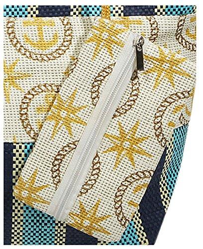 Beach Bag Ameland hellblau Strandtasche im maritinem Design aus Bast, zusätzliches kleines Etui, in 4 Farben erhältlich Hellblau
