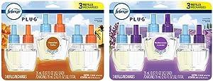 Febreze Odor-Eliminating Plug in Air Freshener Scented Oil Refill, Hawaiian Aloha, 3 Count & Odor-Eliminating Plug in Air Freshener Scented Oil Refill, Mediterranean Lavender, 3 Count