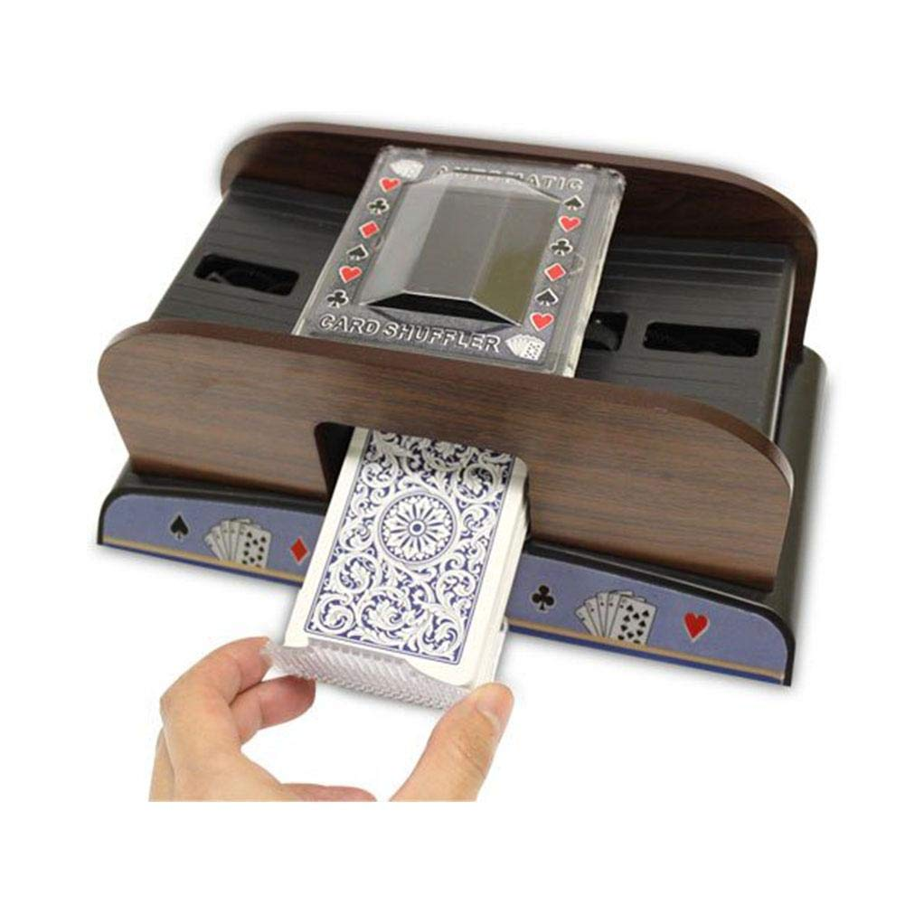 Biback Holzkarte Shuffler Poker Spielkarten Automatisch Karten-Shuffler Karte Sorter Holz fü r Poker Rummy