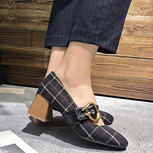 Mujer Bajos Negro Sueltos Zapatos de Altos Mary Hebilla Jane de Zapatos de Zapatos Palabra Tacones Primavera DIDIDD con 38 con Abuelita wU01q5