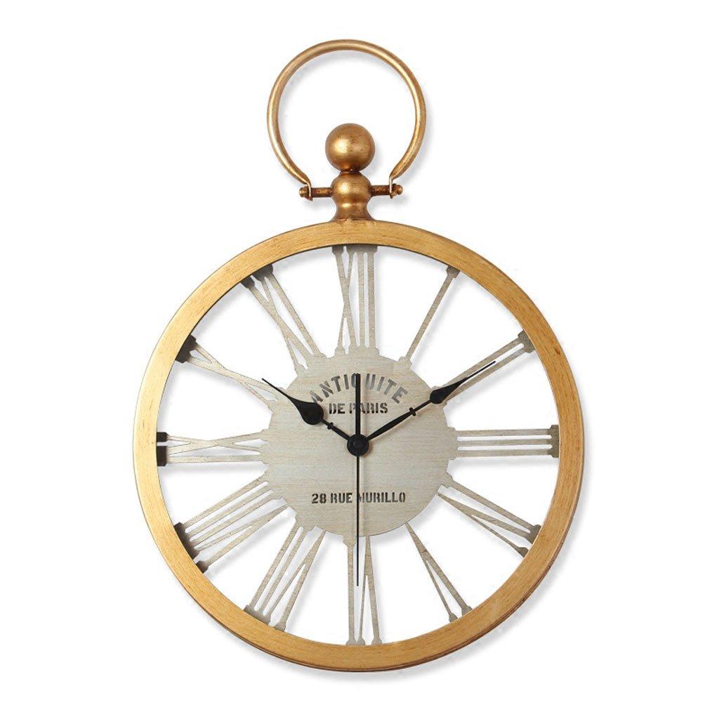 Ledリモコンノルディックレトロミュートレストランのベッドルームの壁時計アメリカのスタイルの田舎の時計16インチ14インチ (Color : Roman gold, Size : 14inches) B07CTF8MYLRoman gold 14inches