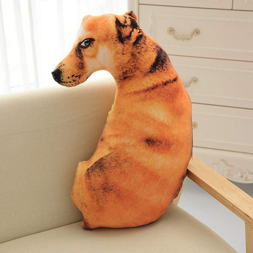 AOmahh 50cm Funny 3D Dog Print Throw Pillow Creative Cushion Cute Plush Doll Gift Home Decor