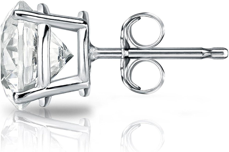 Push-Back 1//8-1 ct, O. White, I1-I2 18k White Gold 4-Prong Basket Round Diamond SINGLE STUD Earring