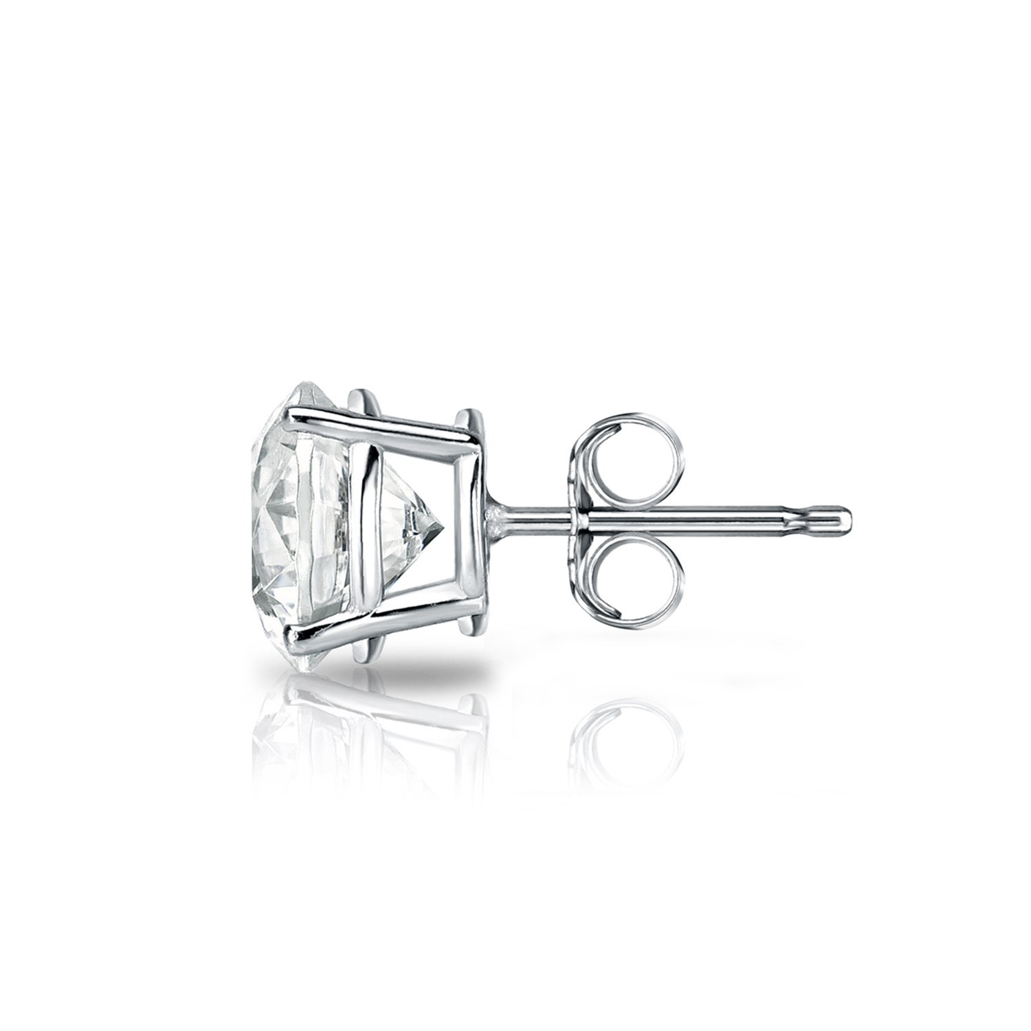 Diamond Wish 18k White Gold Single Stud Round Diamond Earring (1/2 ct, O.White, I2-I3) 4-Prong Basket set with Push-Back by Diamond Wish (Image #2)